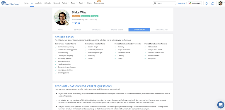 Career Report blakewisz wired2perform
